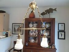 Antique Brass Hanging Ceiling Light Chandelier Vintage Sockets 1899 Glass Shades