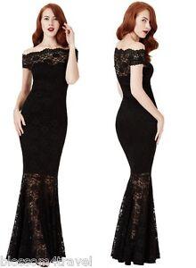 Goddiva-Black-Lace-Bardot-Maxi-Evening-Fishtail-Mermaid-Formal-Party-Dress-Prom