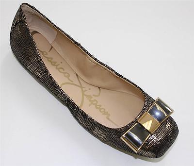 Women's Shoes Jessica Simpson MONETAH Slip On Ballet Flats Gold Lizard Metallic