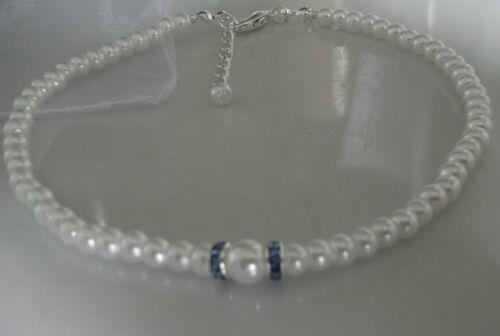 Stretch white pearl anklet ankle bracelet something blue bridal wedding prom
