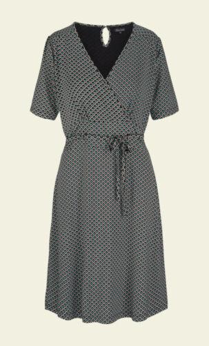 King Louie Kleid Cecil Dress Sundae Binde-Gütel black Punkte 70er Retro 02842