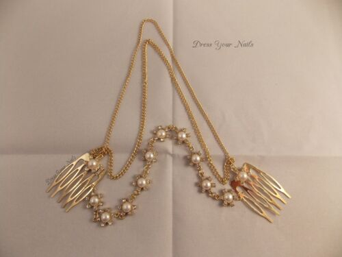 uk Hair Comb chain linked Pearl tassel crystal alloy Accessory Bridal Jewellery