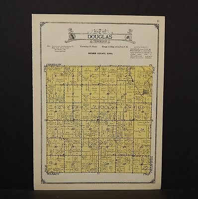 North America Maps Antiques Constructive Iowa Bremer County Map Douglas Township 1927 W13#84