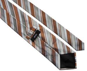 Angemessen Hugo Boss Klassisch Herren Grau Braun Blau Weiße Streifen Seide Arbeit Krawatte äSthetisches Aussehen