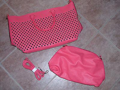 2 Taschen Collezione Alessandro Damenschultertasche u. -umhängetasche rosa