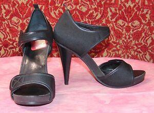 JESSICA-SIMPSON-black-fabric-strappy-heels-6B-36-w-4-heels-TC2B-X3H6
