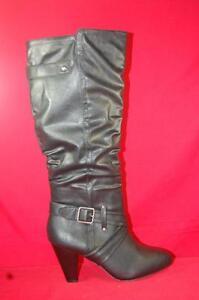 Women-039-s-RAMPAGE-ELESA-Black-Knee-High-Pull-On-Zip-Tall-Dress-Casual-Boots-NEW