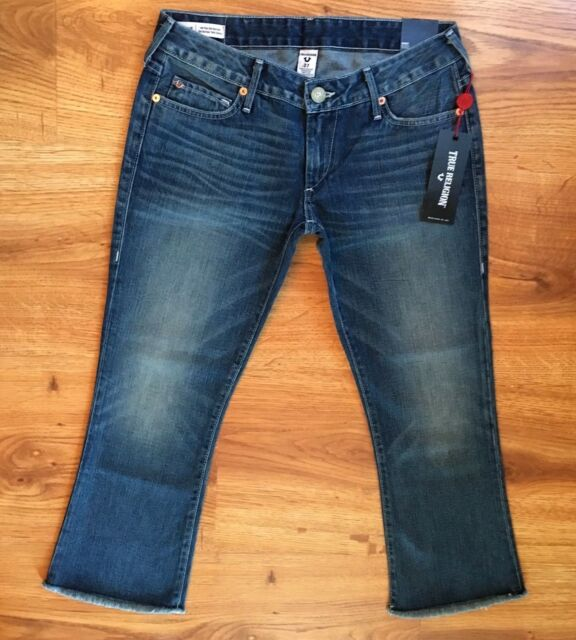 colours and striking order latest style of 2019 NWT True Religion Karlie Bell Bottom Raw Crop Flare Low Rise Jeans Womens  Sz 27