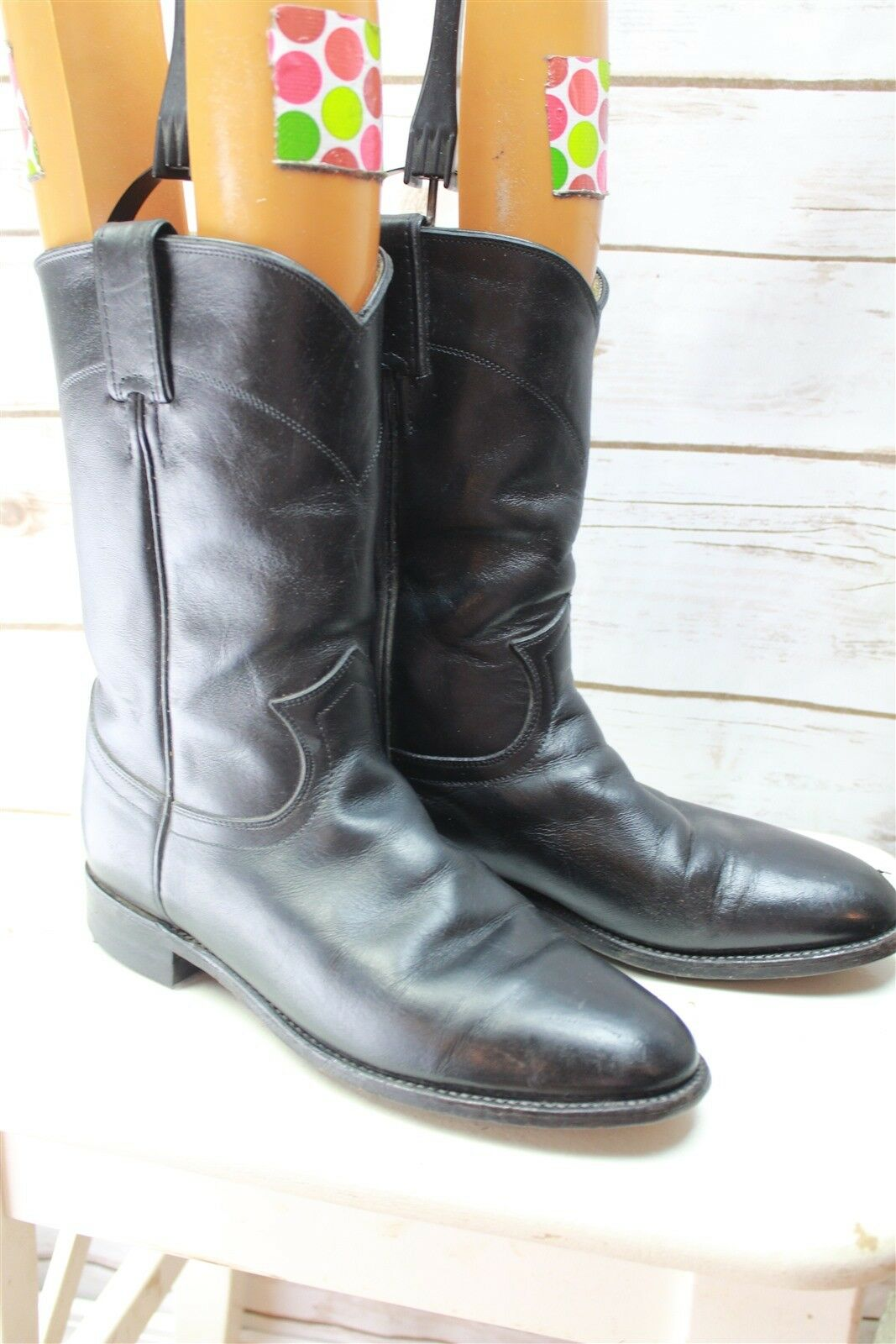Justin Black Leather 7.5 B Women's Western Boots