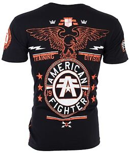 AMERICAN FIGHTER Men T-Shirt CREST OF TRUTH Athletic BLACK Biker Gym MMA UFC $40
