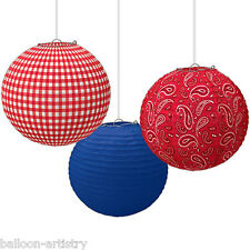 3 Wild West Bandana Western Party Hanging Paper Globe Ball Lanterns Decorations
