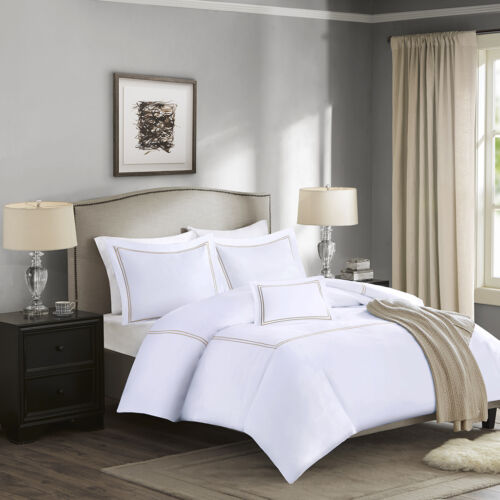 1000TC Luxury Collection COTTON SATEEN FULLQUEEN Duvet Cover Set 4PCS WHITE