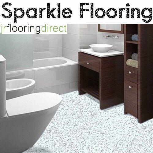 WHITE Granite Effect Sparkly Flooring /  Glitter Sparkle Vinyl Lino Safety Floor