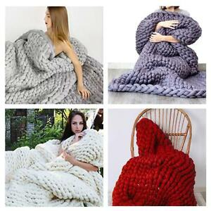 Women Arm Hand Knitted Chunky BLANKET Throw Yarn Soft Super Big Bulky Hot