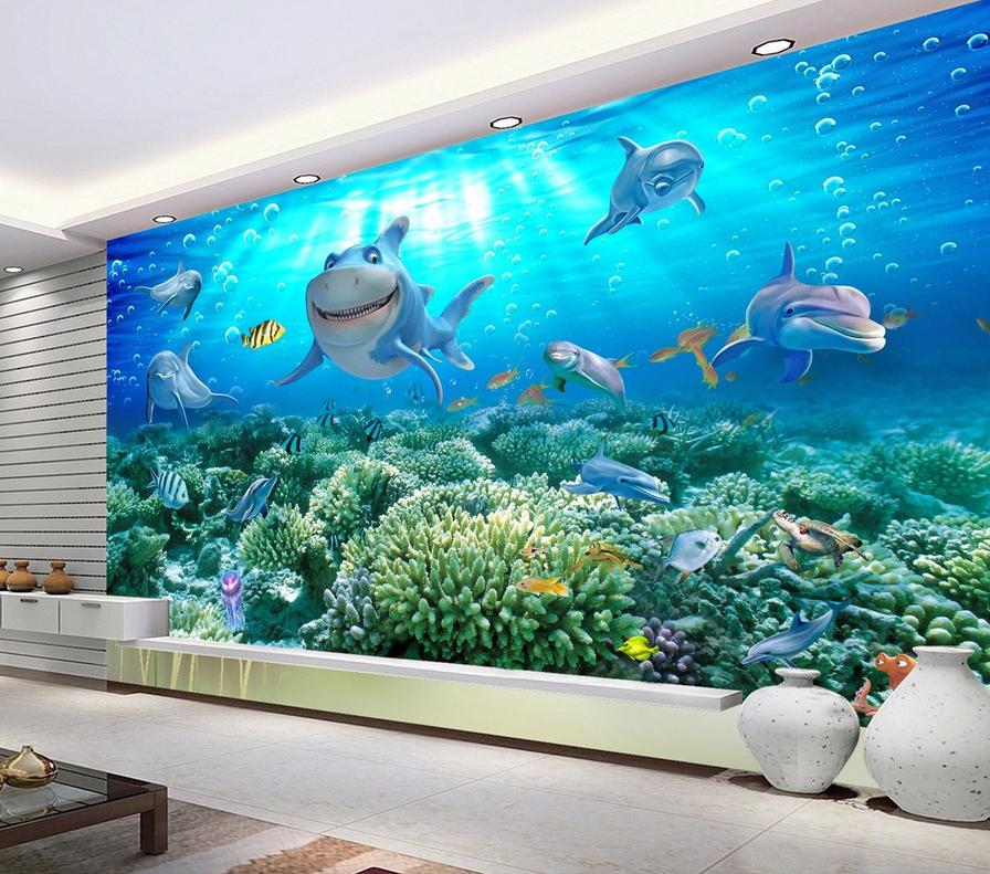 3D Smile Dolphin Dolphin Dolphin 54 Wallpaper Murals Wall Print Wallpaper Mural AJ WALL AU Lemon 124781