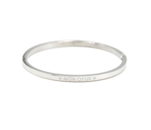 BC3707F Bracelet Enfant Jonc Fin Acier Argenté avec Message Mon Coeur