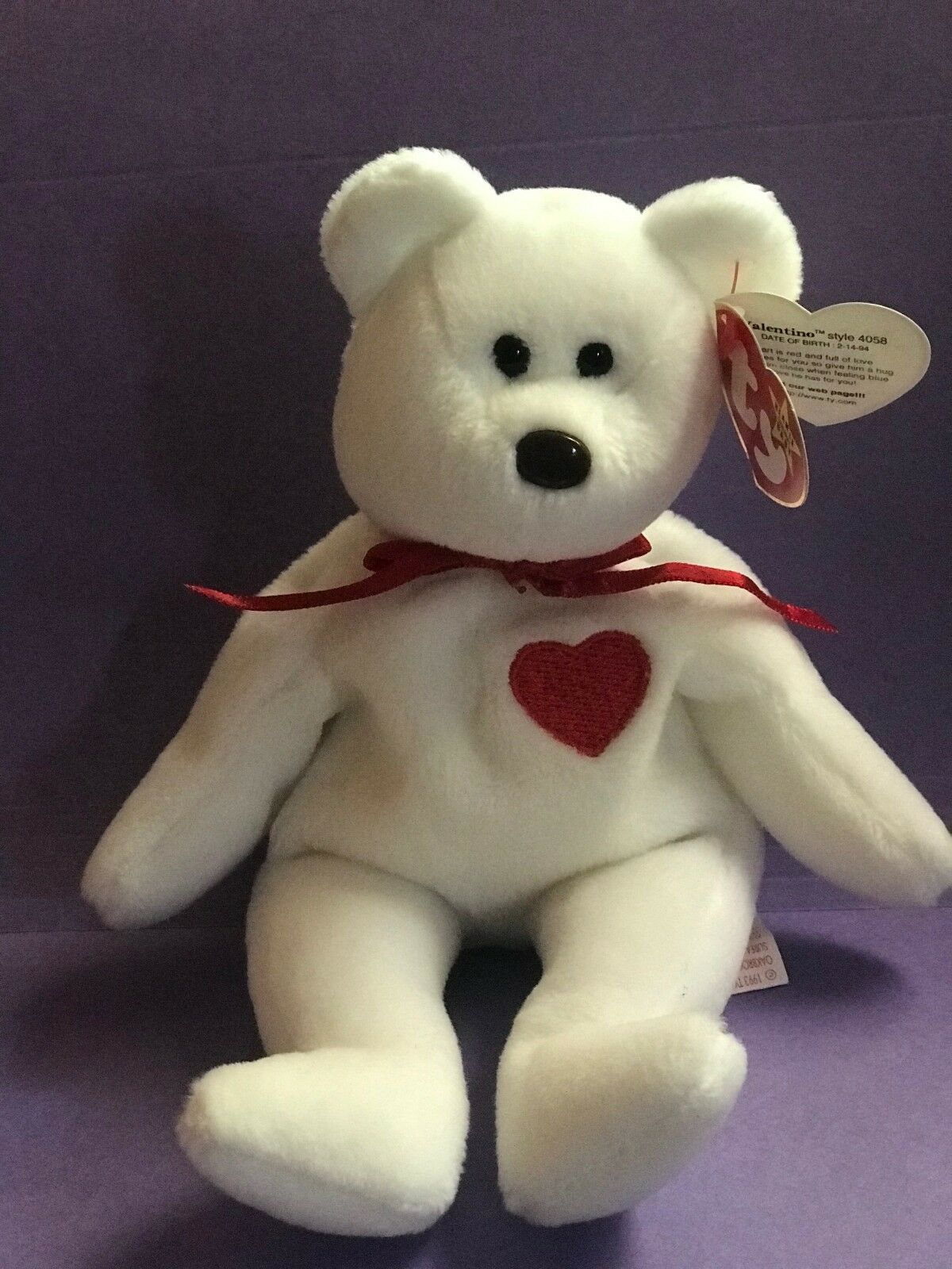 RARE Retired  Valentino Bear  Ty Beanie Babies w MINT tags, 1994 Stamp