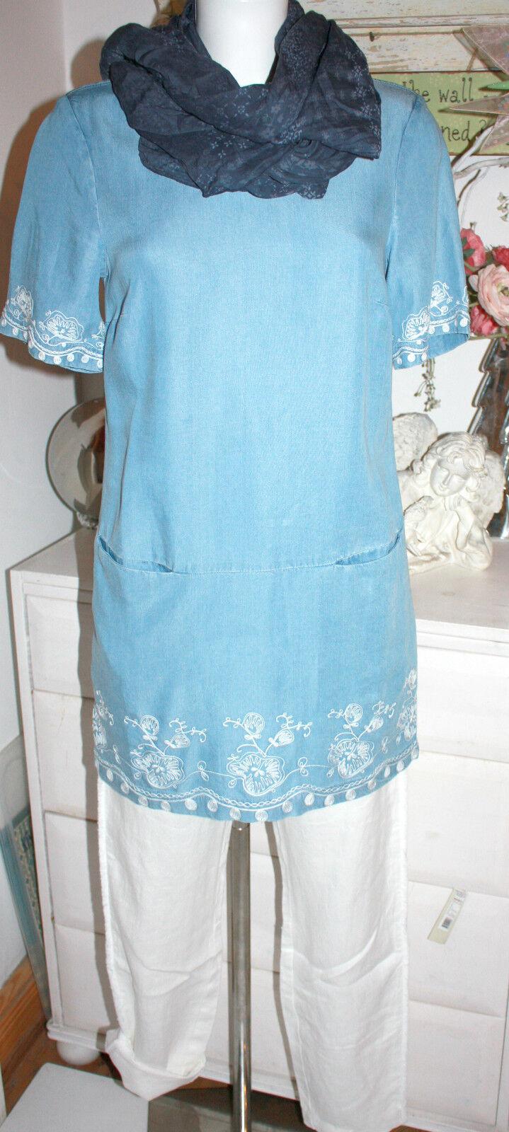 Weiß Stuff Tunika  Blause Kurzarm Denim Blau  Worthwile Tunic  Größe  8  XS Neu