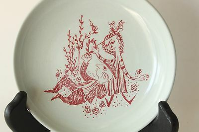 VTG Mid Century Bjorn Wiinblad Small Plate Nymolle Denmark Red Couple in Garden