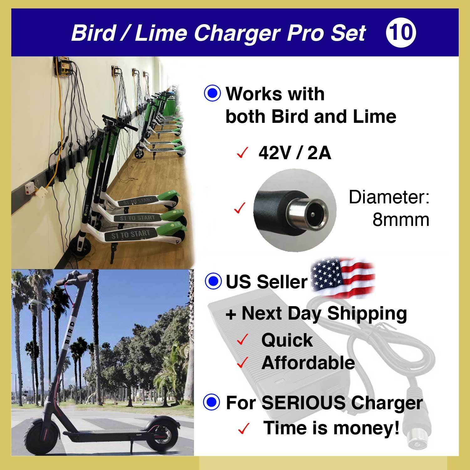 [Flash SALE ] US Seller Bird Lime battery power charger 42V 2.0A Set 10