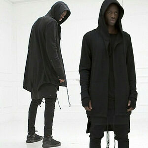 USA STORAGE Men hooded jacket long cardigan black ninja goth ...