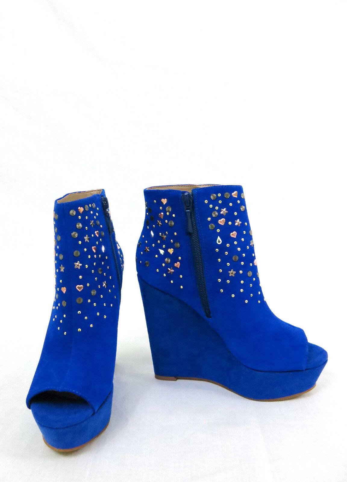 RACHEL ROY Suanna Platform Toe Wedge Ankle Booties Peep Toe Platform Studs Suede Blau 6 53d113