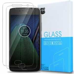 2-Pack-Lifetime-Replacement-Warranty-Moto-G5-Plus-Tempered-Glass-Clear