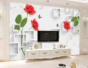 3D Lattice Frame Shelf Flowers Wall Paper Wall Print Decal Wall AJ WALLPAPER CA