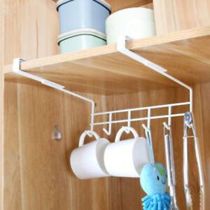 Iron-6-Hooks-Under-Shelf-Mug-Cup-Cupboard-Kitchen-Organiser-Hanging-Rack-Holder