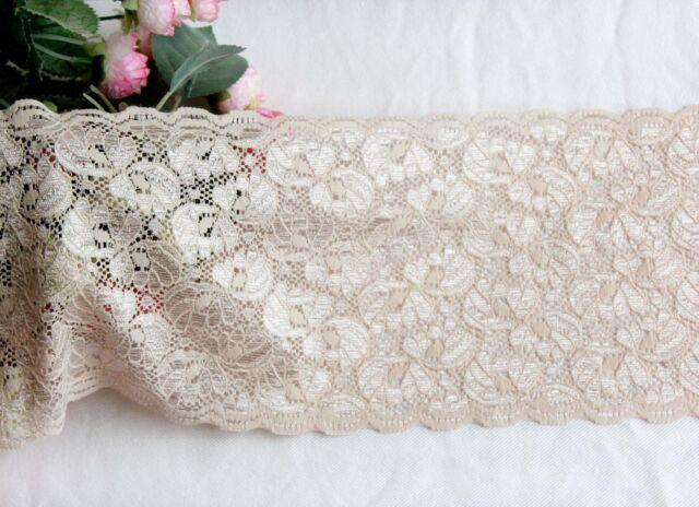 15 cm width Pale Peach Stretch Lace Trim