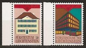 Liechtenstein-CEPT-EUROPA-Architektur-Postgebaeude-1990-Mi-984-85