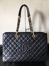 Authentic Chanel GST Grand Shopper Tote XL Black Caviar Leather Gold Hardware