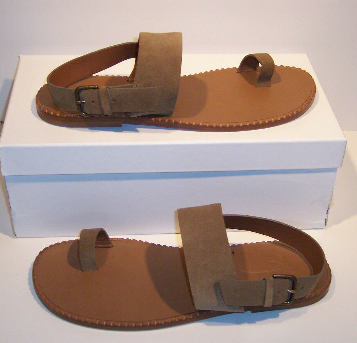 Tomas Maier Men's Sz US 13 D Tan Suede Toe Ring Minimal Sandals Italy $395.00