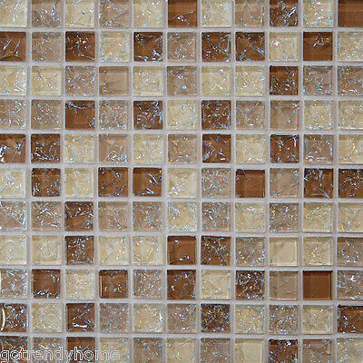 10 Sf Brown Le Gl Mosaic Tile Kitchen Backsplash Wall Bathroom Shower Ebay