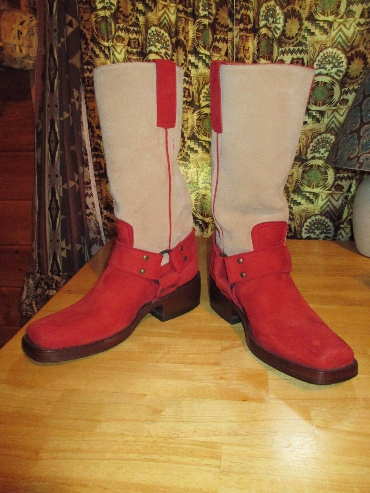 Womens RYAN MICHEAL MICHEAL MICHEAL Suede Leather Mid-Calf Harness Western Cowboy Boots Sz 6 56295a