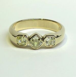 1-36-tcw-Natural-Fancy-Yellow-Diamond-3-Stone-Ring-size-12-EGL-14K-Gold