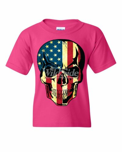 American Flag Skull Youth T-Shirt Badass Stars And Stripes 4th of July Kids Tee