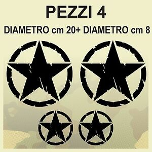 4-Adesivi-Stella-Militare-20x20-8x8-US-ARMY-Jeep-renegade-Suzuki-fuoristrada-4X4