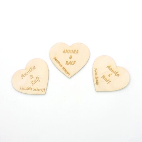 Bois Coeur nom du Mariés et date cœur en bois 10 cm Cadeau De Mariage