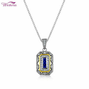 Vintage-Blue-Sapphire-Cz-Sterling-Silver-Yellow-Gold-Pendant-18-034-Chain-Necklace