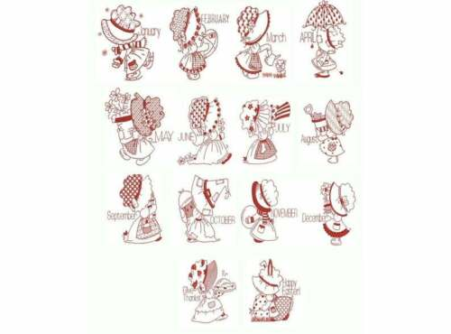 Sunbonnet Calendar Redwork Machine Embroidery Design Set