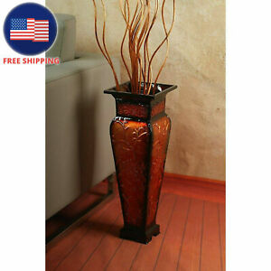 Tall-Floor-Vase-Decorative-Large-Big-Red-Gold-Flower-Square-Embossed-Metal-Home