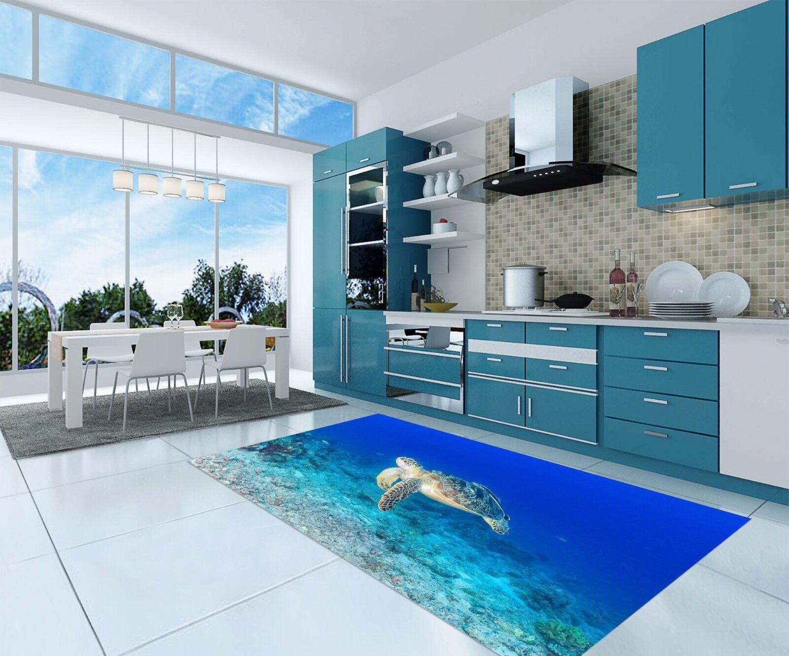3D Turtle Fish830 Kitchen Mat Floor Murals Wall Print Wall Deco AJ WALLPAPER UK