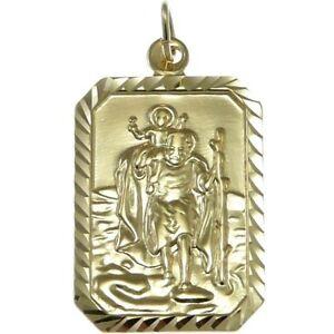 Rectangular mens 9ct gold st saint christopher pendant chain image is loading rectangular mens 9ct gold st saint christopher pendant aloadofball Images