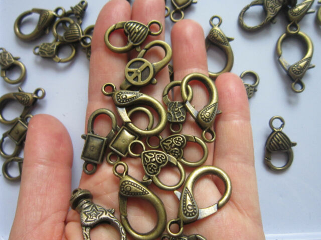 18 x Tibetan Style Large Lobster Claw Clasps Mixed Style 18 - 30 mm findings...