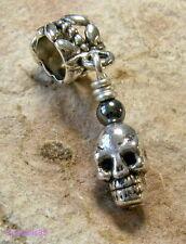 Tibetan SILVER & HEMATITE Gothic SKULL Dangle CHARM Bead For European Bracelet