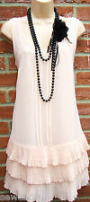 SIZE 12 14 20'S CHARLESTON DECO FLAPPER STYLE FRILLED NUDE DRESS  US 8 10 EU 42