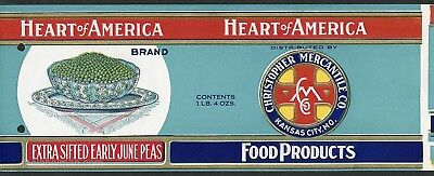 ORIGINAL TIN CAN LABEL VALENTINE HEART 1920S VINTAGE EMBOSSED MICHIGAN JUNE PEAS