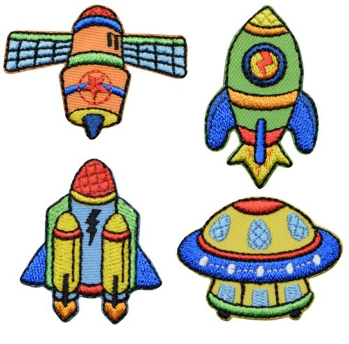 Rock Satellite Spaceship Space Applique Patch Set UFO 4-Pack, Iron on