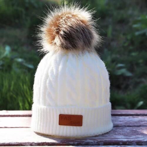 Toddler Kids Baby Boy Girl Fur Pom Hat Winter Warm Knit Bobble Beanie Cap New
